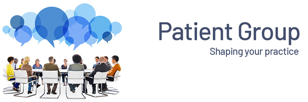 patient group logo with group in a circle with speech bubbles