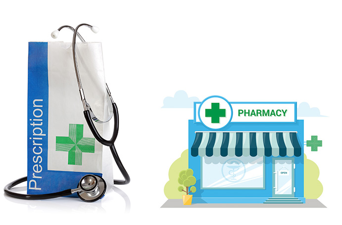 clipart image of pharmacy and prescription bag